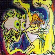 Mr. Mushroom Pants by Aaron Brooks BLOTTER ART numbered, limited - ABrooks perforated lsd acid art paper signed Zane Kesey - Homer Simpson