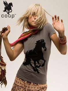NEW wild horse shirt  pima cotton fitted WOMEN's S M L XL  by coup