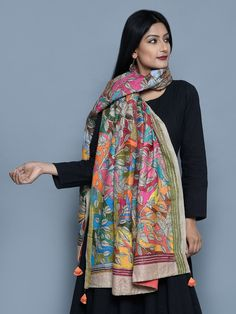 Multi Color Silk Charcoal Warli Kantha Dupatta - + Benefit to keep you warm Indian Attire, Indian Wear, Indian Outfits, Sari Blouse Designs, Salwar Designs, Stylish Dresses, Fashion Dresses, Trendy Kurti, Kalamkari Dresses