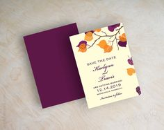 Orange and purple leaf save the dates, fall, autumn save the date magnet, branch save the date postcard, outdoor leaves, eggplant, Serena by www.appleberryink.com