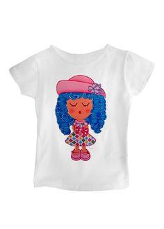 Camiseta corta blanca niña modelo Pija Azul