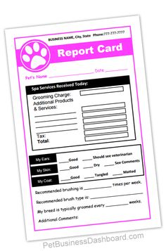 Grooming Receipt & Report Cards In-1 - Printable and editable template. http://www.petbusinessdashboard.com/store/p90/Grooming_Receipt_%26_Report_Cards_In-1.html