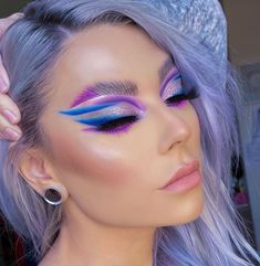 Dope Makeup, Edgy Makeup, Makeup Eye Looks, Eye Makeup Art, Hair Makeup, Carnival Makeup, Pinterest Makeup, Creative Makeup Looks, Colorful Eye Makeup