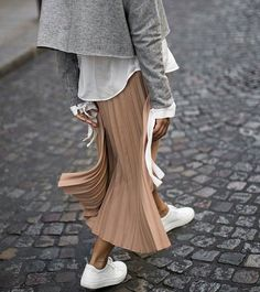 88a073c9 Casual boho outfit - beige pleated skirt, white sneakers and shirt and grey  jacket