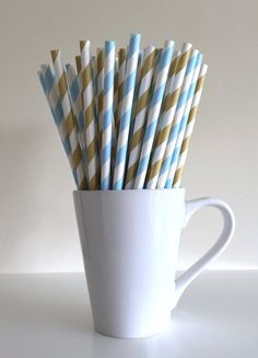 Paper Straws - Light Blue and Light Gold and White Striped Paper Straws Birthday Wedding Baby Shower Bridal Shower Graduation Mix by PuppyCatCrafts