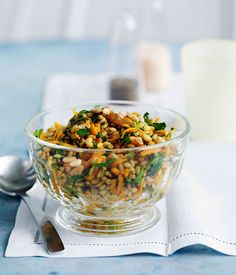 Middle Eastern carrot and barley salad with dates, raisins and pine nuts, via…