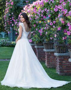 Available at Adore Bridal Boutique! www.adorebridalga.com Style 3912: Scoop Neck Beaded Applique Lace Bodice A-Line Gown   Sincerity Bridal