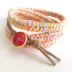Triple wrap braided rainbow bracelet with red button lock - A perfect summer accessory! - #braidedbracelet #rainbow #summeraccessory #bracelet