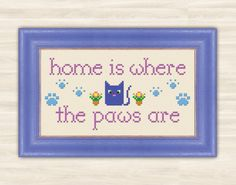 Сat's paw Cross Stitch Pattern PDF kitten home by TimeForStitch