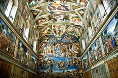 Artisit: Michelangelo Material: Fresco Painting Dimensions: x Date: Location: Vatican City Name: Sistine Chapel Le Vatican, Vatican City Rome, Vatican Tours, Miguel Angel, Monuments, World Famous Paintings, Famous Artists, Sistine Chapel Ceiling, Tourist Sites