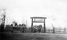 Farm area at Woodland Park Zoo, 1934 Farm Entrance, Woodland Park Zoo, Man Standing, Washington State, North West, Oregon, Seattle, History, Outdoor