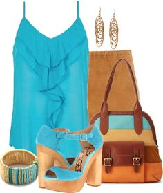 """Brown & Blue"" by citas ❤ liked on Polyvore"