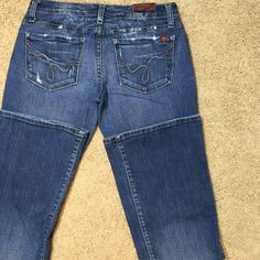 Blue 2 boot cut jeans Super cute, natural distressed. Some wear showing on the bottom hem. 32 in inseam. Blue 2 Jeans Boot Cut