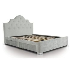 Myles Upholstered Storage Bed Frame Home Loft Concept Size: Double, Colour: Light Grey Upholstered Platform Bed King, King Size Platform Bed, Upholstered Bed Frame, Upholstered Ottoman, Bed Frame With Mattress, Bed Frame With Storage, Bed Storage, Linen Headboard, Leather Headboard