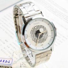 ファッションブラック&ホワイトパターンメンズスチールベルト腕時計