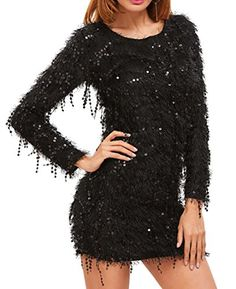 Pandapang Womens Sequin Solid Bodycon Winter Autumn Club Wear Dress Black L * Read more reviews of the product by visiting the link on the image. (This is an affiliate link) #WomensAutomnFashionClothing