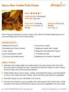 Saucy Slow Cooker Pork Chops
