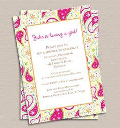 Pretty in Pink Paisley Invitation printed от TigerLilyInvitations