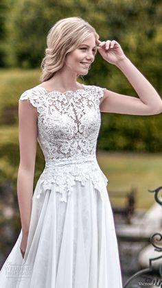 victoria f 2017 bridal cap sleeves scallop lace bateau neckline heavily embellished bodice beautiful elegant a  line wedding dress chapel train (untitled 02) zv