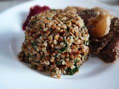 Kasza gryczana ze szpinakiem Tasty, Yummy Food, Yummy Recipes, Taste Of Home, Risotto, Beef, Dinner, Vegetables, Healthy