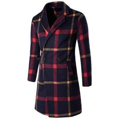 Buttoned Lapel Collar Plaid Coat