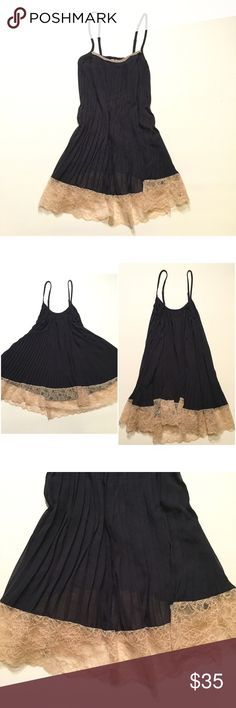 Victoria's Secret Pleated Babydoll Victoria's Secret Pleated embellished babydoll. Size small. Black with beautiful gold Lace trim. Adjustable straps. Victoria's Secret Intimates & Sleepwear
