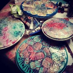 Varnish needs to dry & then these drum heads will become clocks. Available to purchase at with the record. Drum Heads, Gelli Plate Printing, Gelli Arts, Printmaking, Clocks, Drums, Mixed Media, Journal, Plates