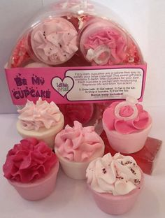 """""""Be My Cupcake"""" Valentine Gift Pack is a fun & unique Valentine's Day gift for bath lovers! Fizzy bath cupcakes are a calorie-free way to satisfy inner cravings! This sweet gift pack contains a variety of 5 fizzy fun cupcakes for your bath.Each bath cupcake is packed with moisturizing fragrance oils and fizzin' fun action!  *includes a chunk of our handmade  soap!"""