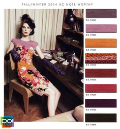 """Note Worth"" color scheme with pink, orange, and plum purple. FASHION VIGNETTE: TRENDS // DESIGN OPTIONS . A/W 2014 #colorschemes #colorpalettes #colorpallets"