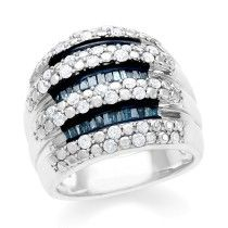1.00 Carat Blue and White Diamond Ring in Sterling Silver