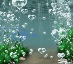 Corazones de burbujas