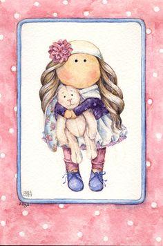 по мотивам работ Елены Майоровой акварель открытка   watercolor postcard doll
