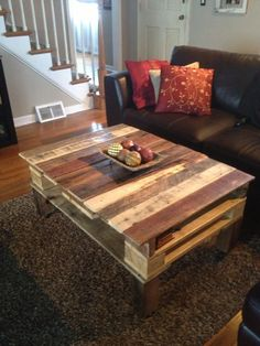 Reclaimed Rustic Pallet Coffee Table.. $225.00, via Etsy. (on legs but shipping from Phila $50-100, could pick up?)