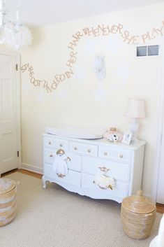 """Stars Got Tangled in her Hair Whenever She Played"" - what a whimsical touch to this white and gold nursery!"