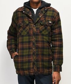 A unique combination of the classic hoodie and flannel looks, the green and brown hooded flannel shirt from Dickies is the best of both worlds! The classic flannel look has been updated with a good amount of insulation, as well as a black drawstring hood Hooded Flannel, Mens Flannel, Flannel Shirt, Plaid Pattern, Green And Brown, Winter Collection, Military Jacket, Hoods, Winter Jackets