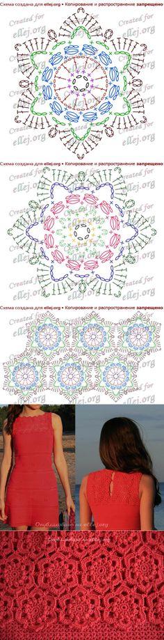Crochet dress pattern diagram inspiration 16 New Ideas Crochet Mandala Pattern, Crochet Circles, Crochet Blocks, Crochet Diagram, Crochet Patterns, Crochet Stars, Thread Crochet, Crochet Flowers, Crochet Lace