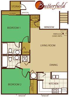 Butterfield Apartments 2 Bedroom Floorplan, Flagstaff, AZ