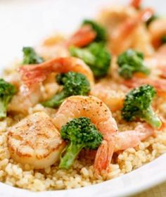 Directions:  In a pan over low-medium heat, sauté shrimp until cooked. Add edamame and broccoli. In a small bowl, combine soy sauce, sesame oil and rice wine vinegar. Drizzle the sauce over the stir-fry. Serve with a side of brown rice.