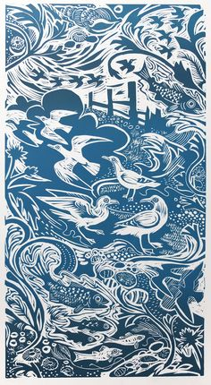 Mark Hearld 'Shoreline' linocut