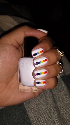 Today's rainbow on white nails. Iffy on this! Excuse the fudged middle finger. - Imgur