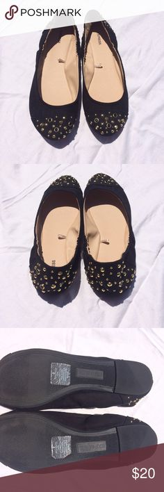 Black studded Express flats Black suede flats with gold studded details. Size 9. Worn once - practically brand new! Express Shoes Flats & Loafers