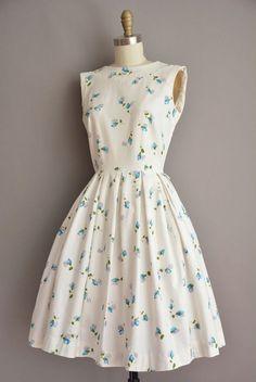 3bc688d5491a vintage 50s Gay Gibson blue floral print vintage dress   vintage 1950s dress