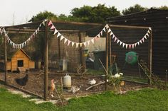 Chickens at a wedding! Outdoorsy, back garden ceremony, hand-made bunting. www.livvy-hukins.co.uk