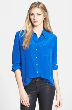 Two by Vince Camuto Silk Utility Blouse (Regular & Petite) | Nordstrom