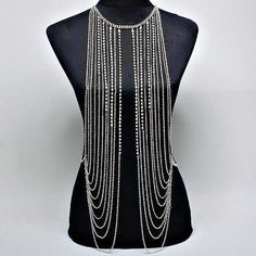 New Women Silver Shine Waterfall Multilayer Tassel Body Chain Necklace on Etsy, $39.95