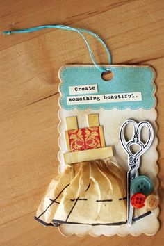 Using sewing pattern paper. Sweet- inspires me do a tag - quilting related to put in Grandma's shadow box.