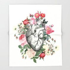 "Coronary heart Blanket  - ""Roses for her Coronary heart"" anatomical coronary heart  on mild pink throw blanket  - lovely  decor,  cozy present. *** Discover even more at the picture link"