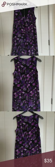 Tibi Purple and Black Silk Dress Size 4 V neck with flattering empire waist. Fully lined.  Beautiful designer dress Pre-owned good condition. Dress is stunning. Tibi Dresses Mini