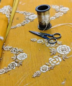 """Beauty lies in the hands of the artisans who put their heart and soul into their work ! ❤️ Shop """"yellow luxury"""" on our website. Zardosi Embroidery, Hand Embroidery Dress, Hand Embroidery Videos, Bead Embroidery Patterns, Embroidery Suits Design, Couture Embroidery, Flower Embroidery Designs, Indian Embroidery, Embroidery On Kurtis"""