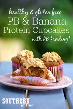 These Peanut Butter and Banana Protein Cupcakes are ridiculously delicious and no one will ever believe they are healthy, let alone high protein and low carb! Complete with peanut butter cream cheese frosting these cupcakes are low fat, gluten free, refined sugar free, high protein, low carb and SO easy to make!